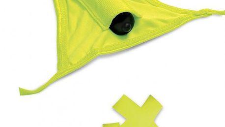 Neon Vibrating Crotchless Panty & Pasties Set, vibrační kalhotky žluté