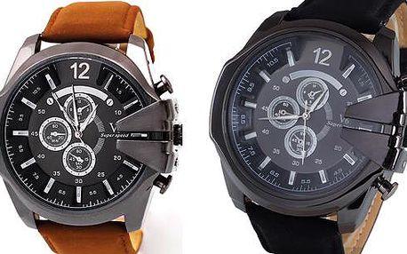 Sportovní pánské hodinky s koženým páskem