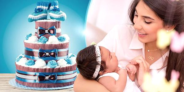 Plenkový dort! Jednopatrový, dvoupatrový nebo třípatrový dort s kompletní výbavou pro miminko v několika barvách!