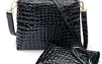 Elegantní lesklá crossbody kabelka s cestovní kosmetickou taškou - sada