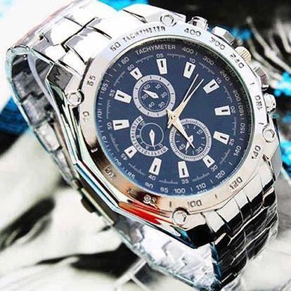 Pánské analogové hodinky ve stříbrném provedení