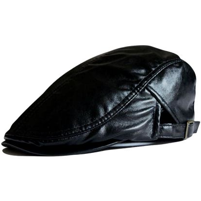 Elegantní koženková čepice s kšiltíkem