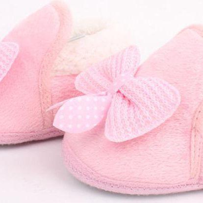 Dětské zateplené botičky s mašličkou a kožíškem