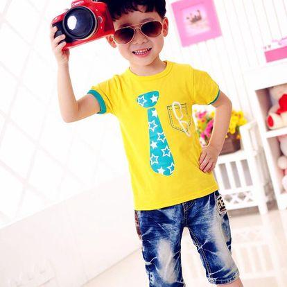 Chlapecké tričko s kratkým rukávem a potiskem kravaty