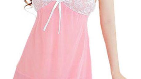 Růžová lehce průhledná košilka s bílou krajkou