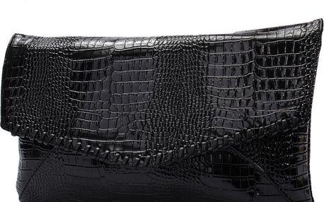 Lesklé koženkové psaníčko s krokodýlím vzorem