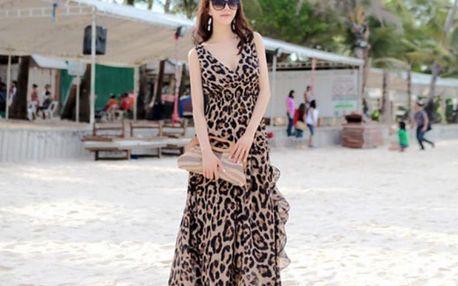 Dlouhé letní šaty na pláž s leoparním vzorem