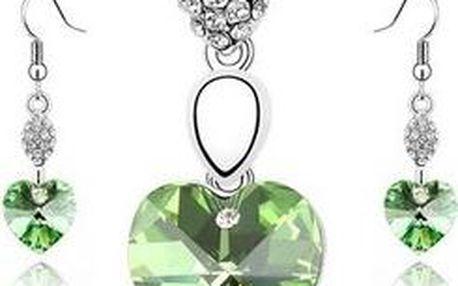 Sada šperků s kamínky ve tvaru srdce - řetízek s přívěskem a náušnice