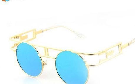 Retro kulaté sluneční brýle se zajímavými obroučky