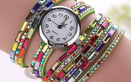 Pestrobarevné dámské hodinky s lesklými kamínky
