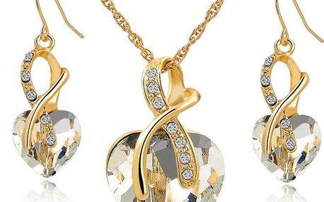 Dámský náhrdelník s přívěskem a náušnice ve tvaru srdce - exkluzivní sada
