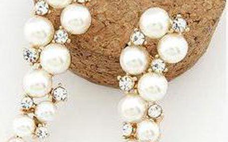 Dlouhé perlové náušnice s kamínky