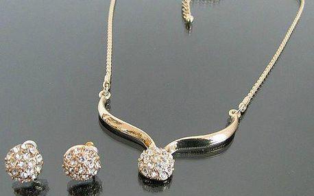 Krásná sada šperků s kuličkami se zirkony