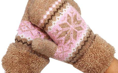 Huňaté palcové rukavice se vzorkem vločky