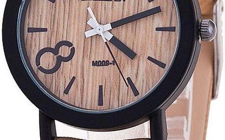 Stylové kulaté hodinky s dřevěným ciferníkem