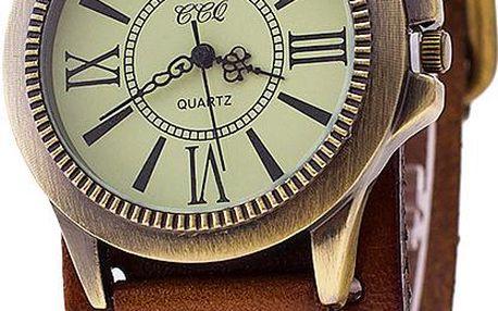 Antické dámské hodinky s koženým páskem