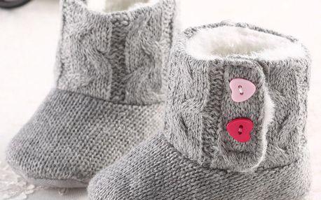 Šedivé dětské zimní papučky s protiskluzovou podrážkou