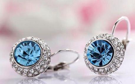 Kulaté dámské náušnice s krystalem a kamínky