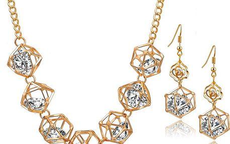 Sada náhrdelníku a naušnic s kamínky ve tvaru malých drahokamů