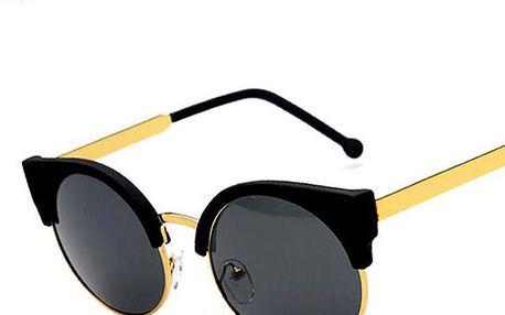 Módní vintage dámské sluneční brýle s kulatými sklíčky a výrazným horním lemem