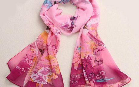 Romantický šátek s ptáčky