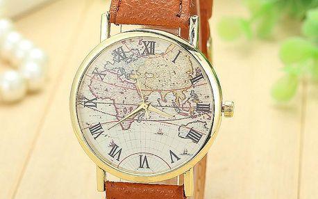Zlaté kulaté hodinky s mapou světa na ciferníku