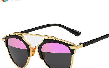 Unisex vintage sluneční brýle v netradičním tvaru