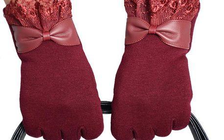 Jednobarevné rukavice s mašličkou a decentní krajkou