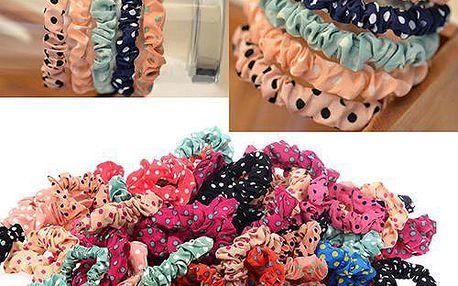 Látkové gumičky do vlasů s puntíky - 10 kusů