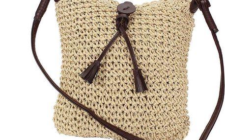 Přírodní tkaná kabelka s ozdobou - crossbody
