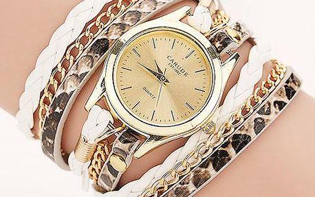 Dámské zlaté hodinky s několikavrstvým náramkovým páskem