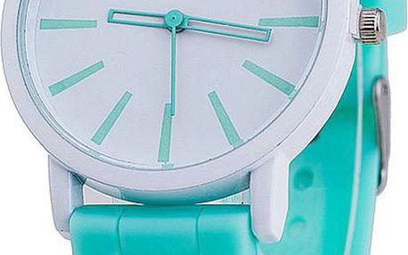 Kulaté hodinky s bílým ciferníkem a barevným silikonovým náramkem