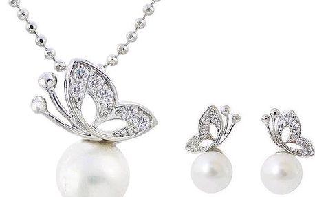 Okouzlující souprava šperků s perlou a motýlem - kuličkový řetízek a náušnice
