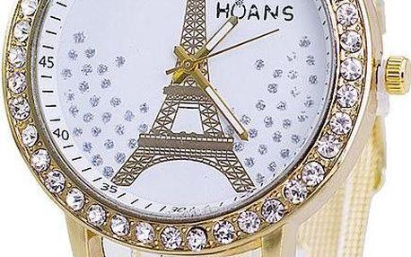 Dámské hodinky s Eiffelovou věží a jemným páskem