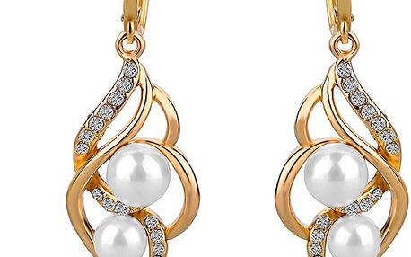 Elegantní dámské náušnice s perlami a kamínky