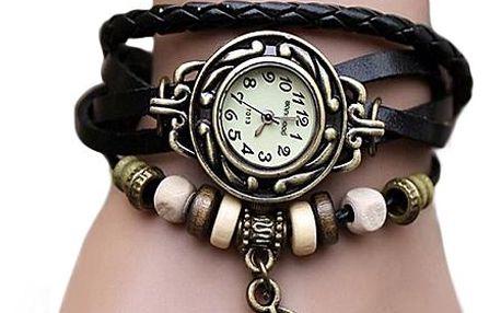 Náramkové vintage hodinky s přívěskem peříčka