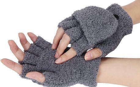 Plyšové rukavice s odjímatelnou krajní částí