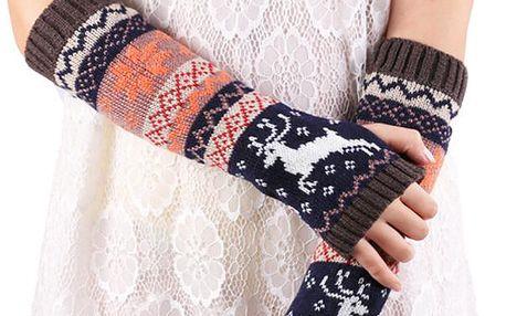 Dlouhé rukavice bez prstů se zimním motivem