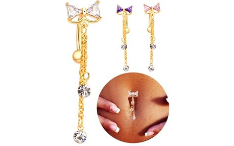 Sexy zlatý piercing do pupíku s mašličkou a kamínky