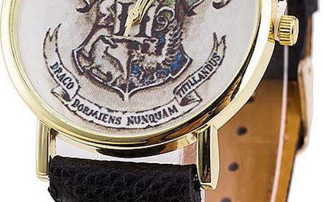 Zlaté kulaté hodinky s motivem kouzelnické školy Bradavice
