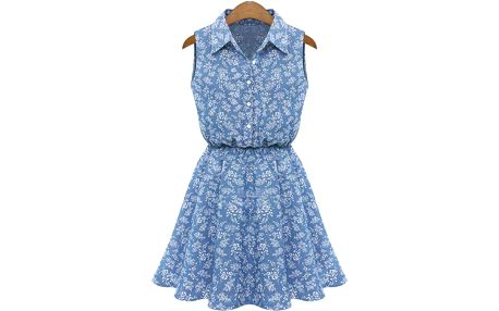 Letní šaty bez rukávů s límečkem - modrá riflovina