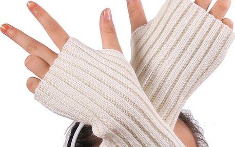 Jednobarevné pletené návleky na ruce s otvorem na palec
