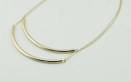 Módní náhrdelník s dvěmi zlatými trubičkami