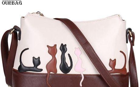 Hnědo-béžová dámská kabelka s motivem koček