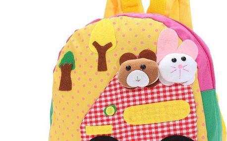 Roztomilý dětský batůžek s veselými motivy a zvířátky