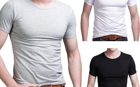 Pánské jednobarevné tričko s krátkým rukávem