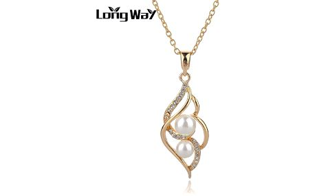 Zlatý řetízek a přívěsek s kamínky a perlami