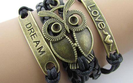 Pletený dámský náramek se sovou v černo-zlaté barvě