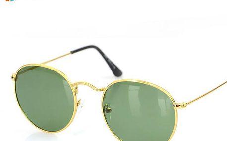 Retro kulaté dámské sluneční brýle s jemnými obroučkami