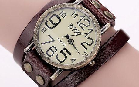 Retro hodinky se širokým koženým páskem